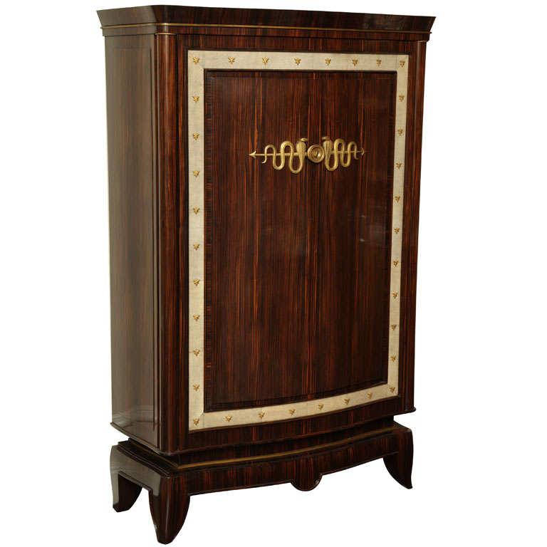 André Frechet French Art Deco Macassar Ebony, Shagreen & Gilt Bronze Cabinet For Sale