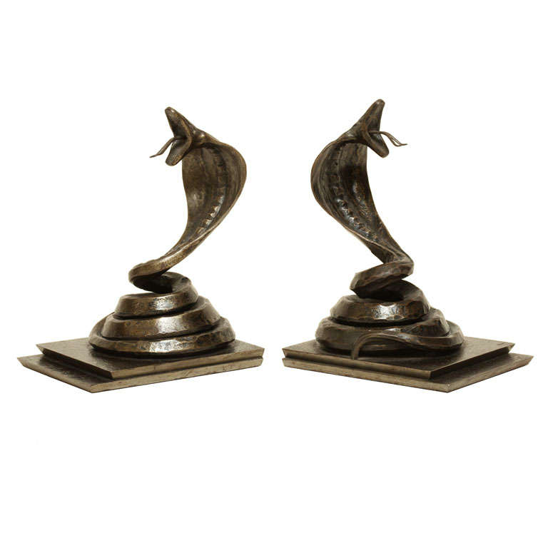 Edgar Brandt French Art Deco Pair of Wrought Iron Cobra Bookends For Sale
