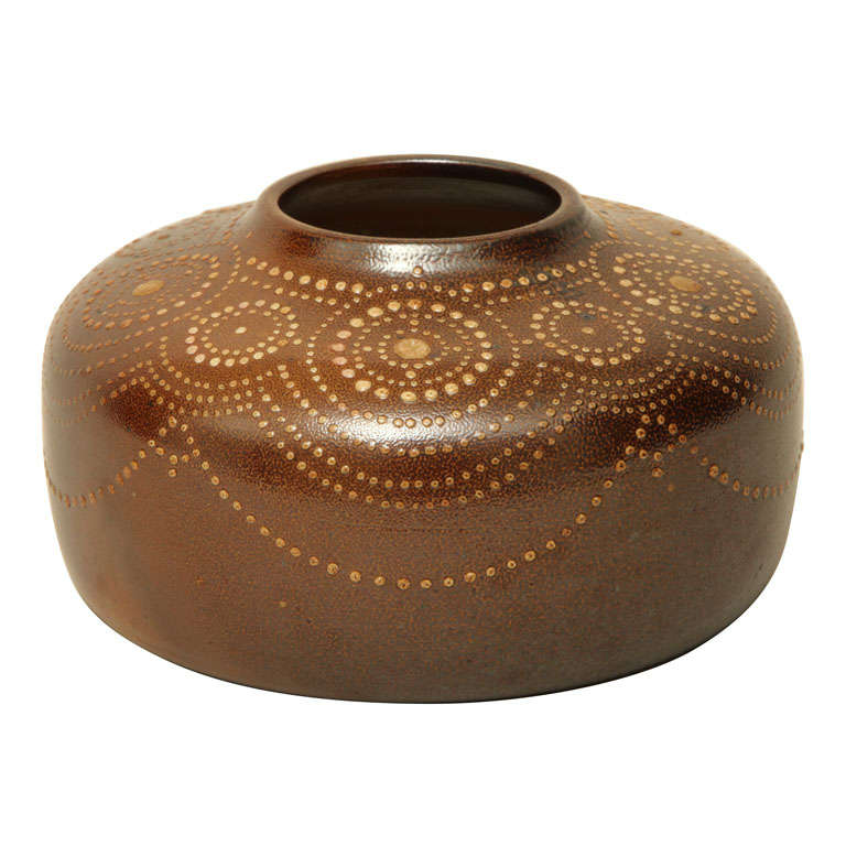 Henri Simmen French Art Deco Beige Or Light Brown Stoneware Vase For