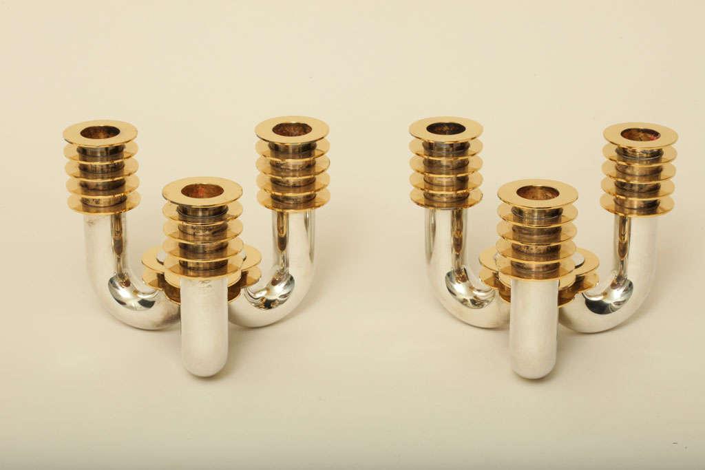 Jean Puiforcat Art Deco Pair of Sterling Silver & Vermeil Three-Light Candelabra For Sale 1