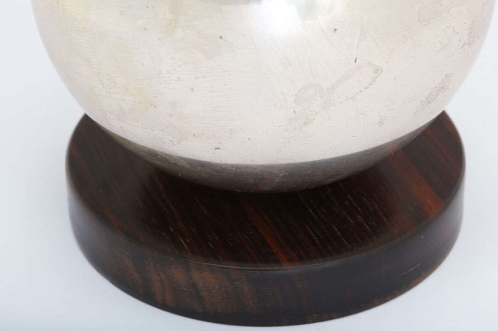 20th Century Maison Desny French Art Deco Nickelled-Metal and Frosted Glass Incense Burner For Sale