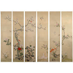 Six Hand Painted Panoramic Wall Paper Panels