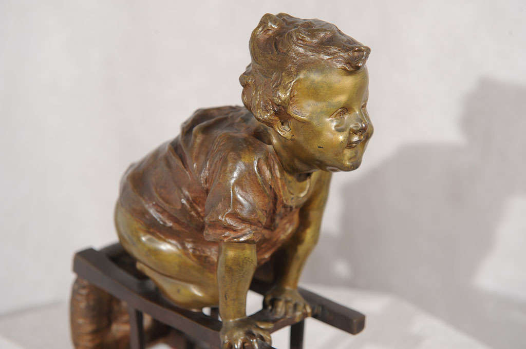 Spanish Bronze Statue of Toddler Climbing on Chair by Juan Clara ca. 1900 For Sale