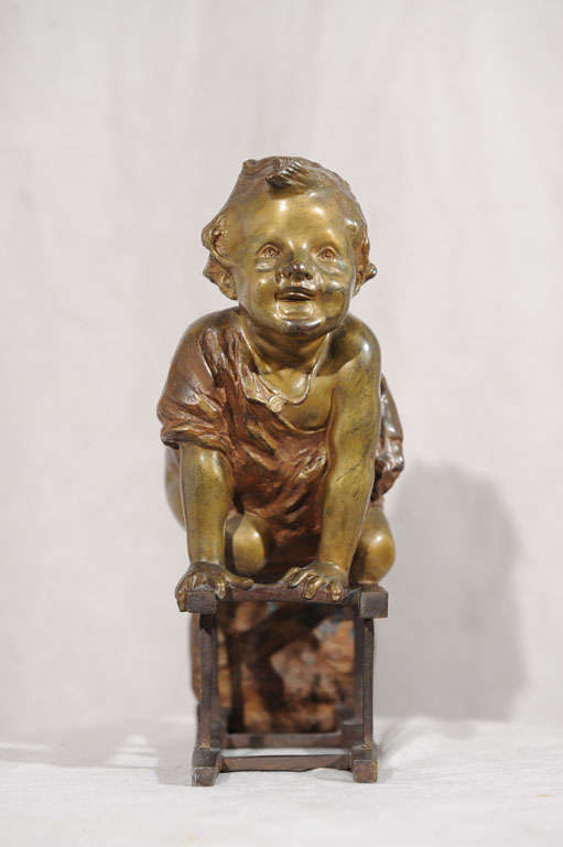 Patinated Bronze Statue of Toddler Climbing on Chair by Juan Clara ca. 1900 For Sale
