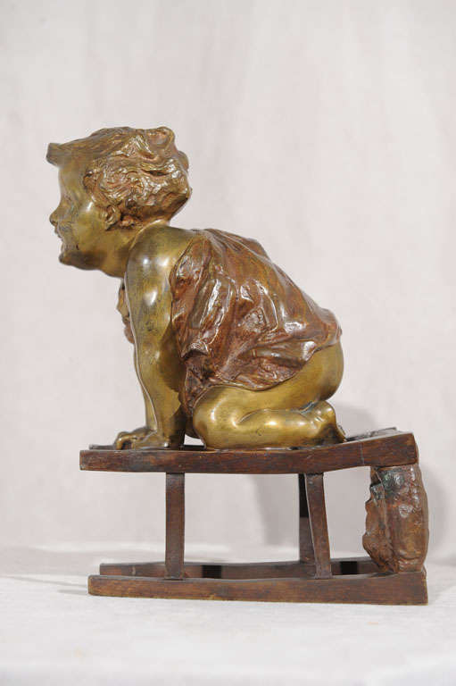 Bronze Statue of Toddler Climbing on Chair by Juan Clara ca. 1900 In Excellent Condition For Sale In Petaluma, CA