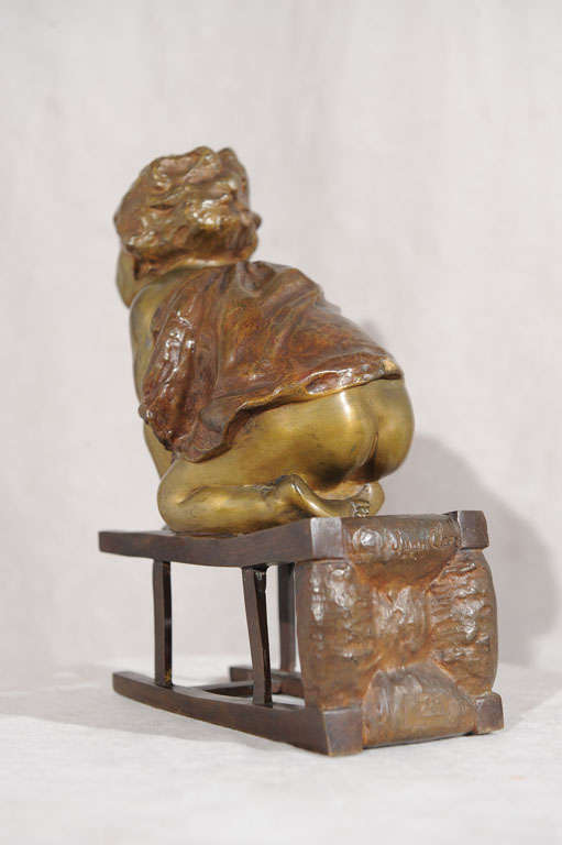 20th Century Bronze Statue of Toddler Climbing on Chair by Juan Clara ca. 1900 For Sale
