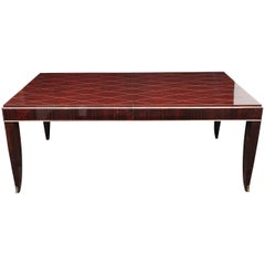 Art Deco Rosewood and Gilded Albert Fournier Dining Table