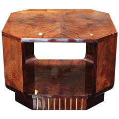 Octagonal Side Table in Walnut Burl