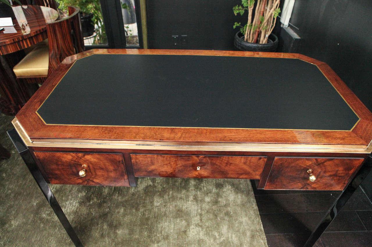 Octagonal Art Deco Desk in Walnut 3