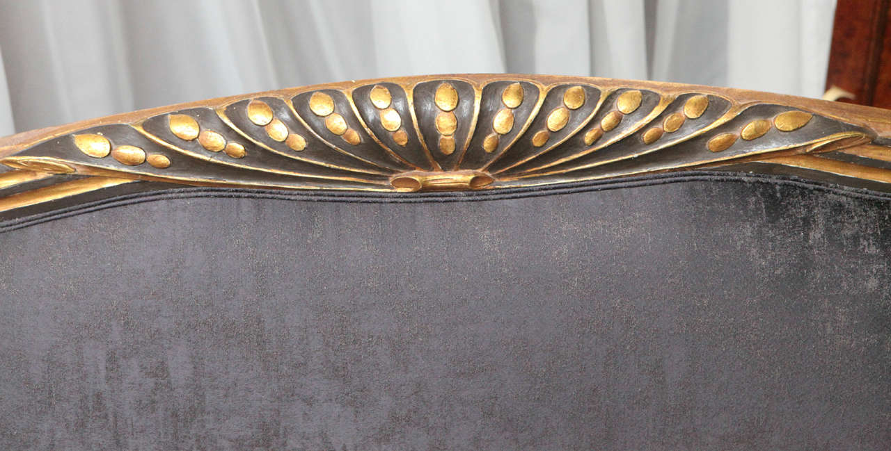 Mid-20th Century Carved Art Deco Sofa in Gold Leaf, France, circa 1940s For Sale