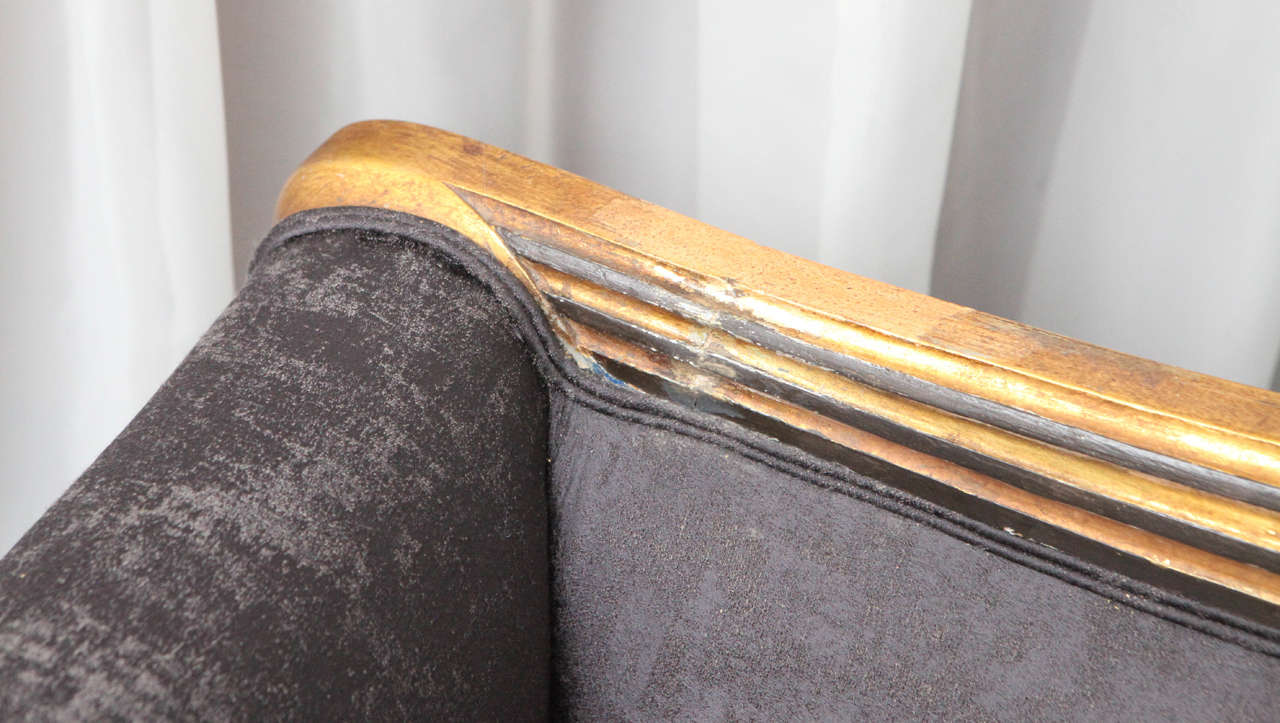 Paint Carved Art Deco Sofa in Gold Leaf, France, circa 1940s For Sale