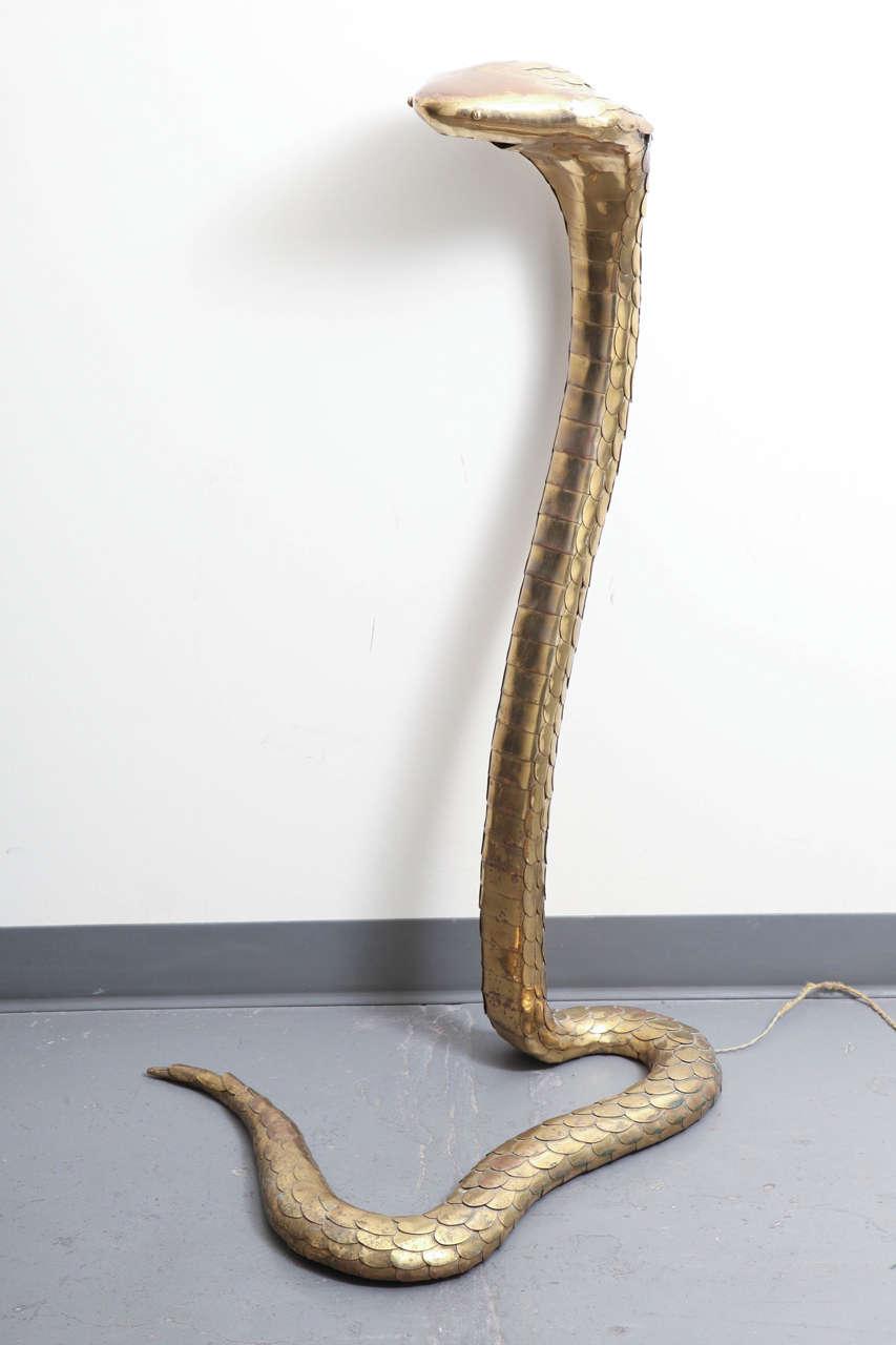 Rare 1970s Brass Cobra Sculpture Lamp by Alain Chervet 2