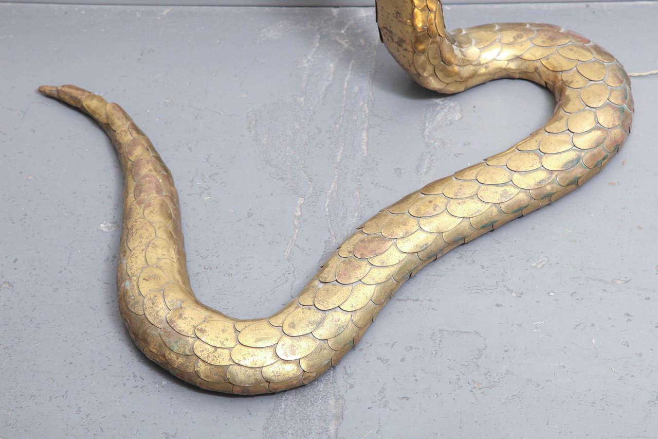 Rare 1970s Brass Cobra Sculpture Lamp by Alain Chervet 3
