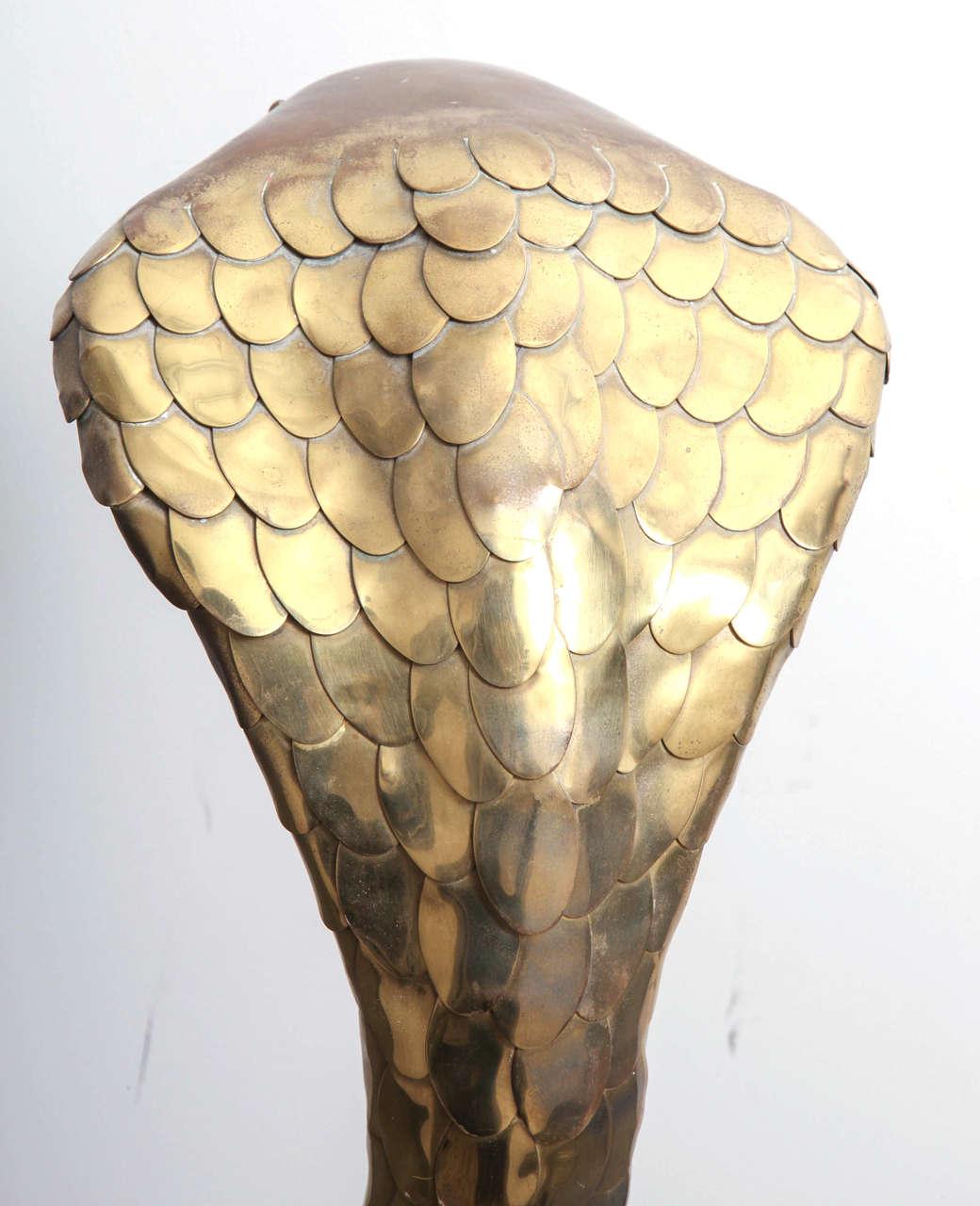 Rare 1970s Brass Cobra Sculpture Lamp by Alain Chervet 7