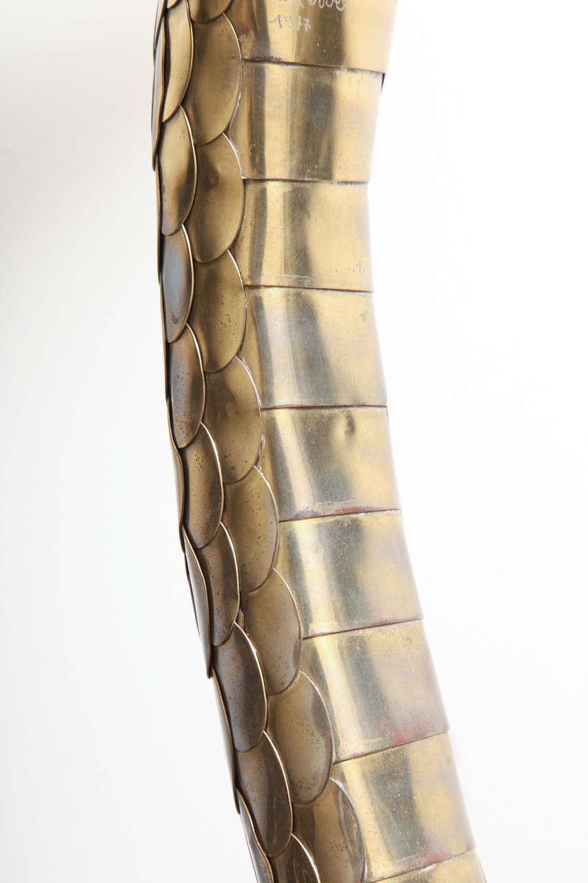 Rare 1970s Brass Cobra Sculpture Lamp by Alain Chervet 10
