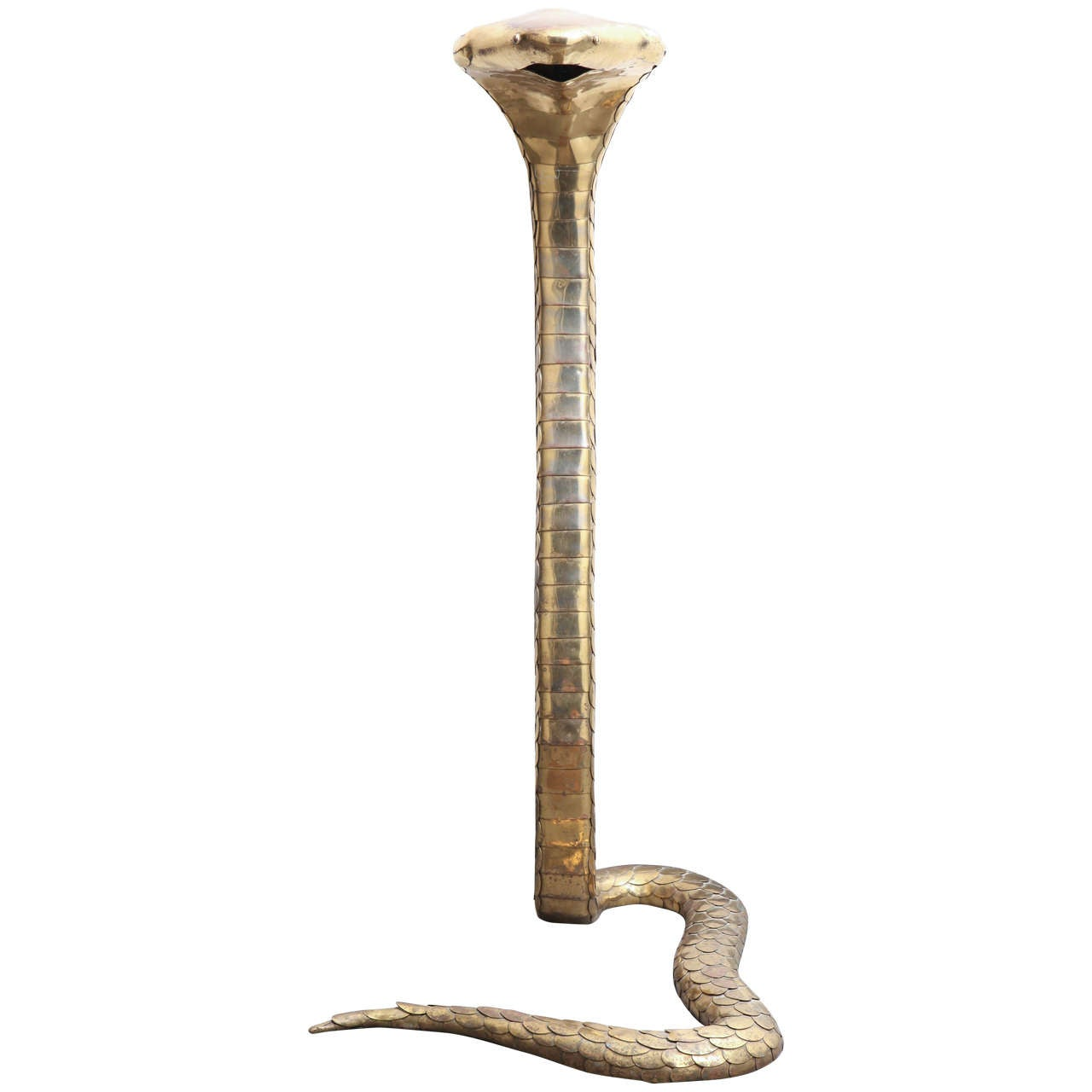Rare 1970s Brass Cobra Sculpture Lamp by Alain Chervet
