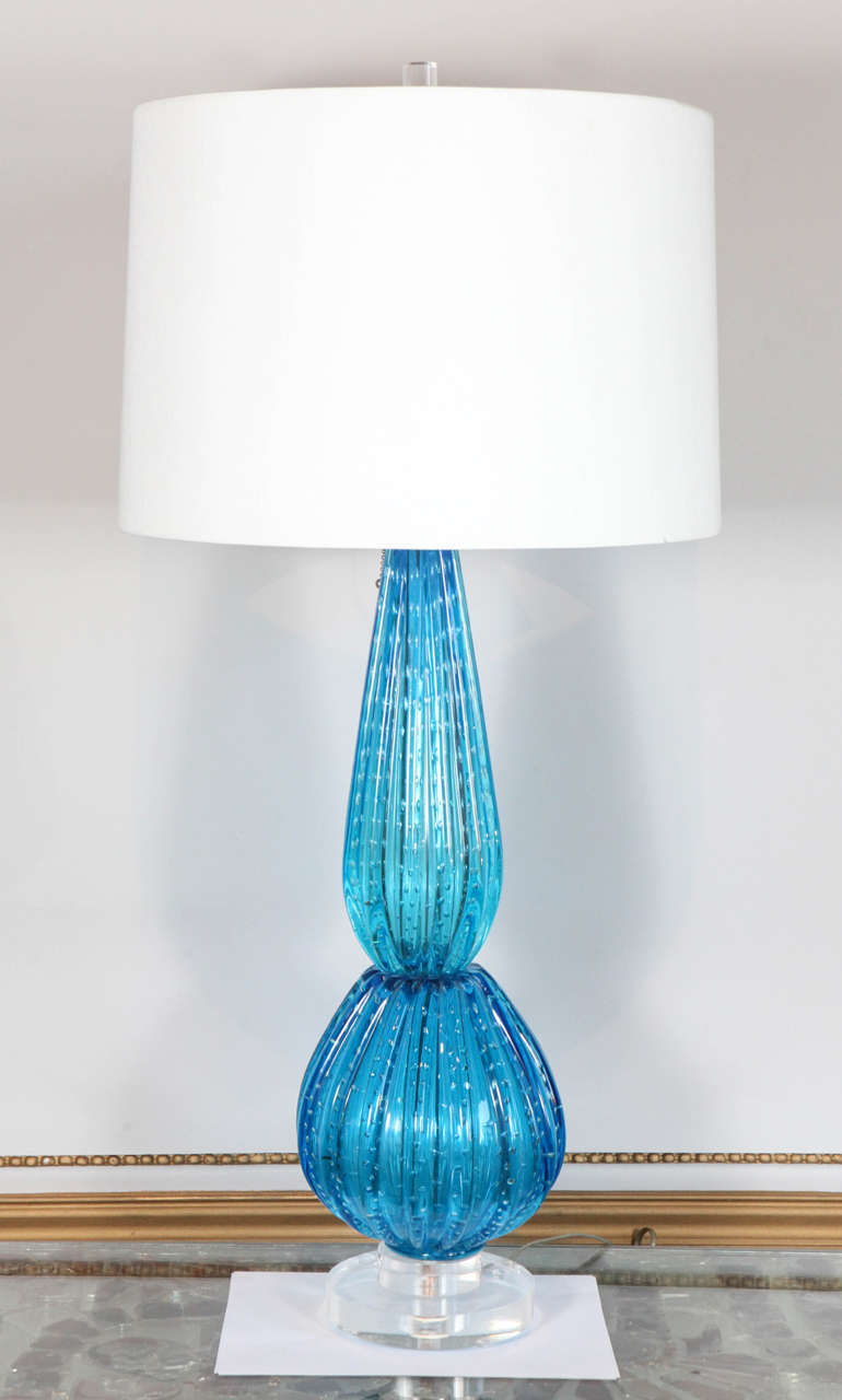 Vintage hand blown murano blue glass table lamp italy 1950s at 1stdibs aloadofball Images