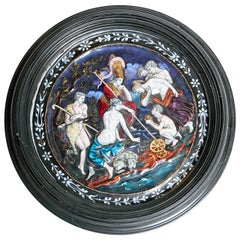 19th c. French Limoges Polychromed Enamel Tondo