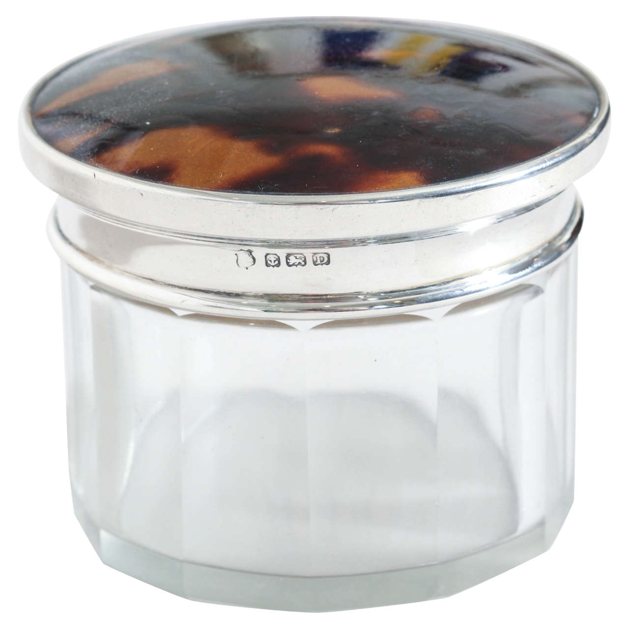 English Art Deco Crystal, Faux Tortoiseshell U0026 Sterling Silver Round Box 1