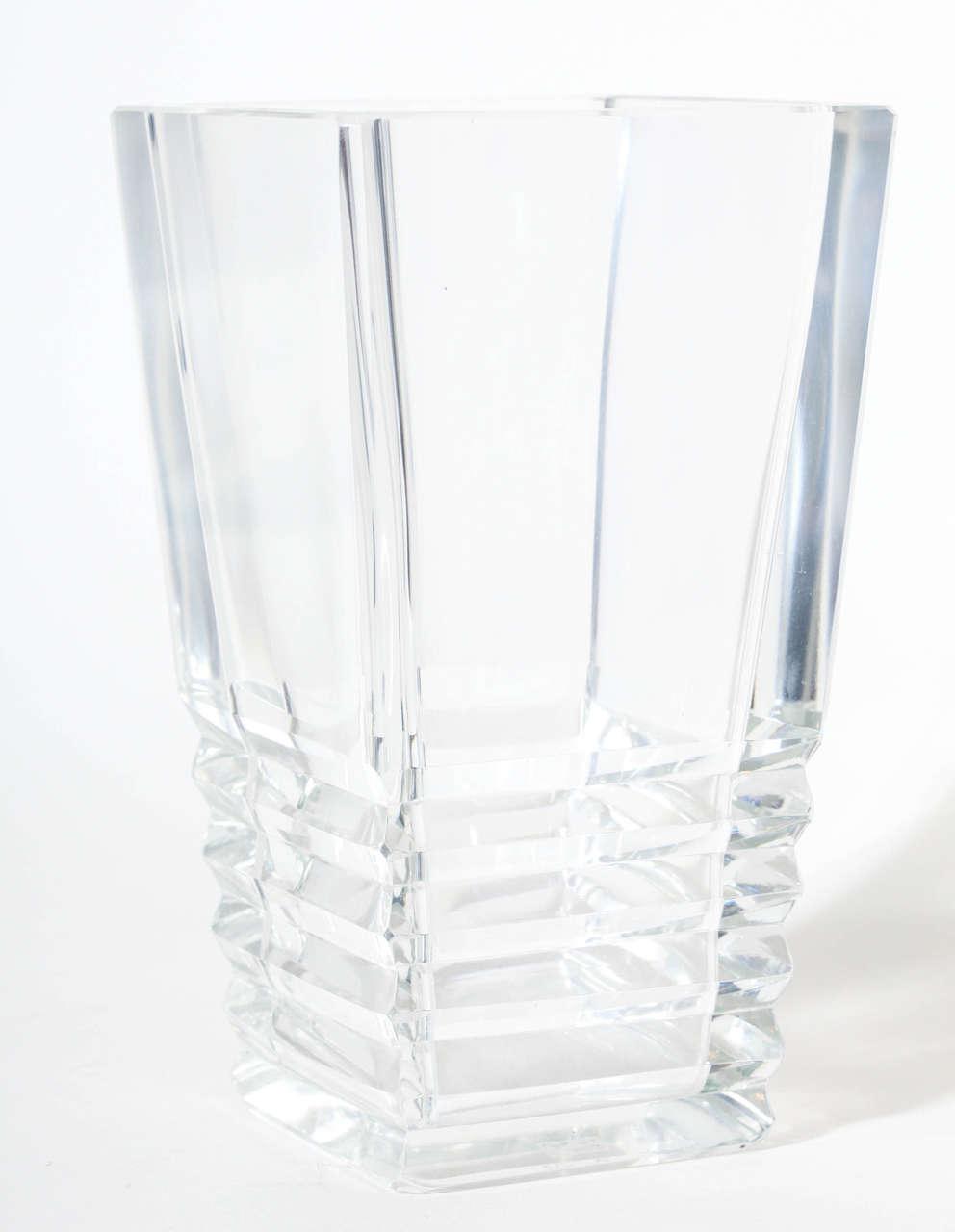 S Art Deco Glass Vase Grooves