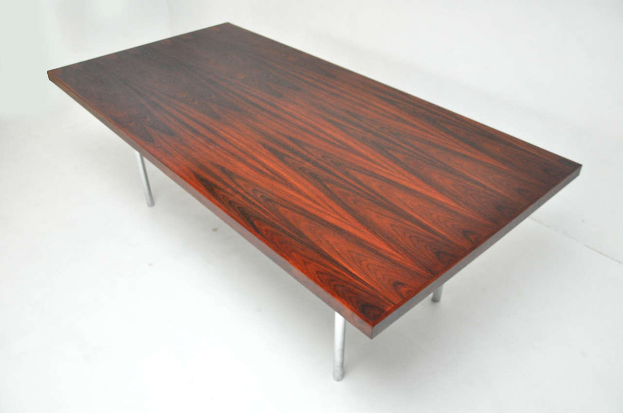 Mid-Century Modern Rosewood Dining Table after Mies Van Der Rohe For Sale