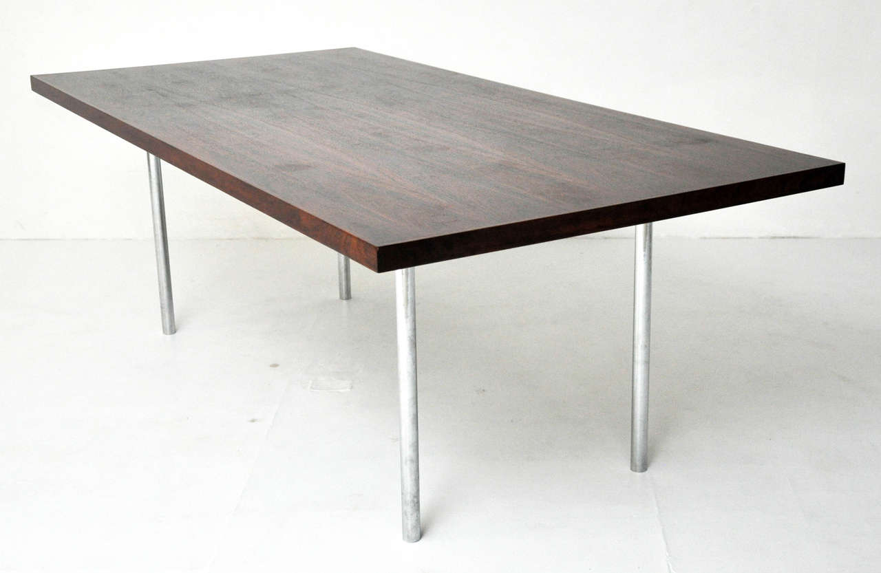 Rosewood Dining Table after Mies Van Der Rohe In Excellent Condition For Sale In Chicago, IL