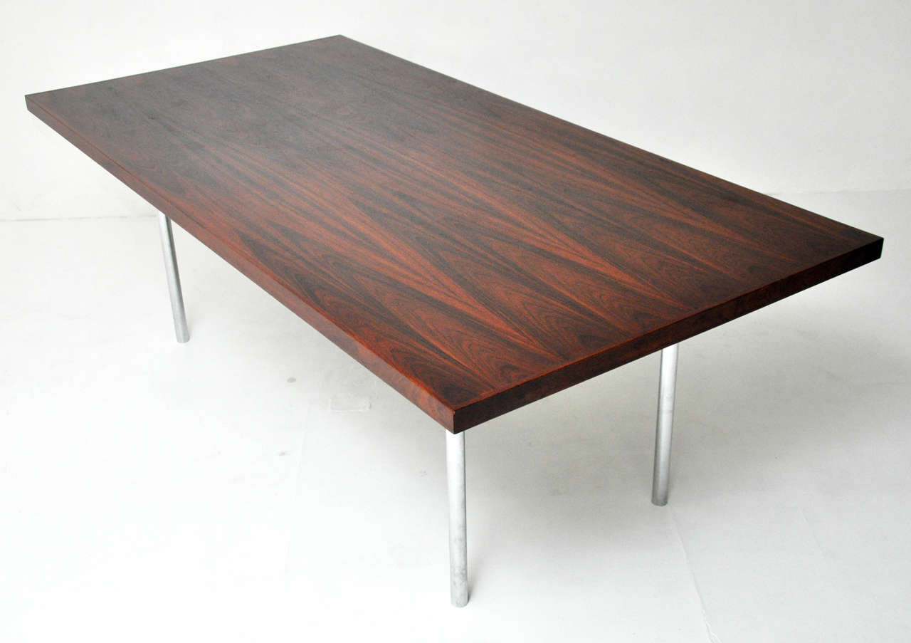 Mid-20th Century Rosewood Dining Table after Mies Van Der Rohe For Sale