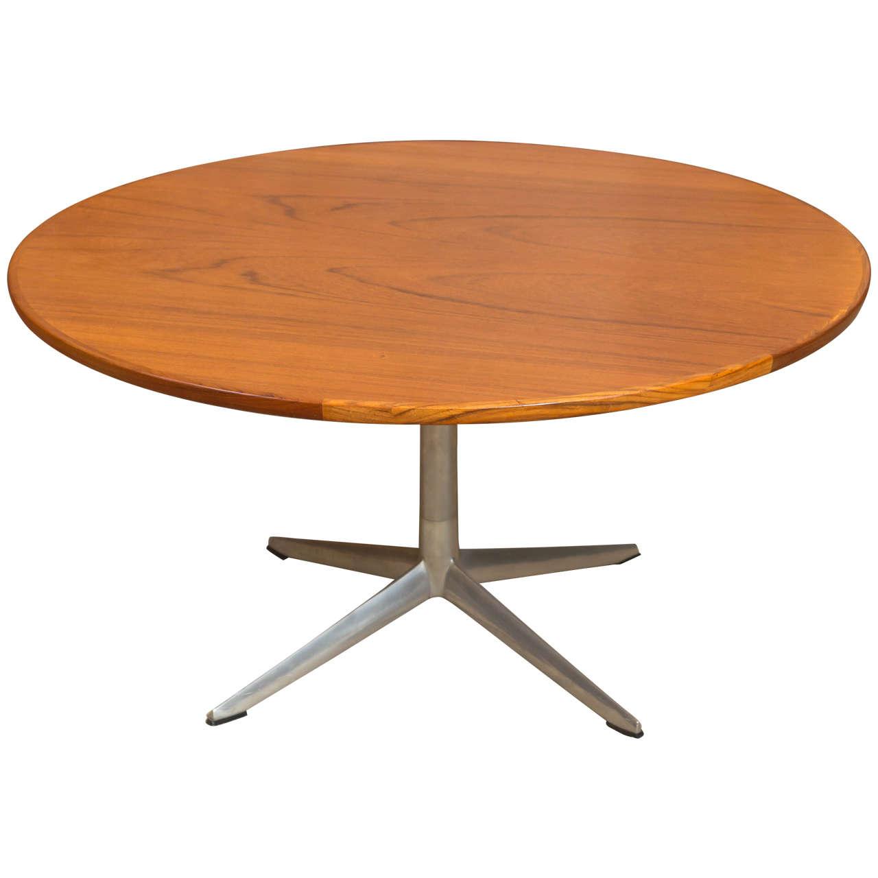 Hw klein for bramin round teak coffee table for sale at 1stdibs hw klein for bramin round teak coffee table 1 geotapseo Choice Image