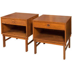Pair Dux Walnut End Tables from Sweden