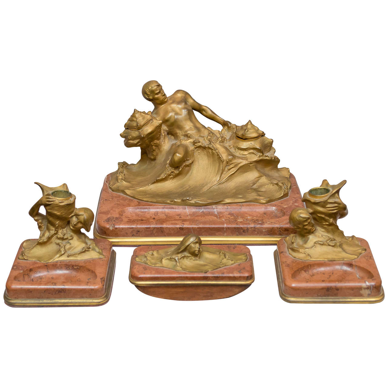 Art Nouveau Gilt Bronze And Marble Desk Set H Muller