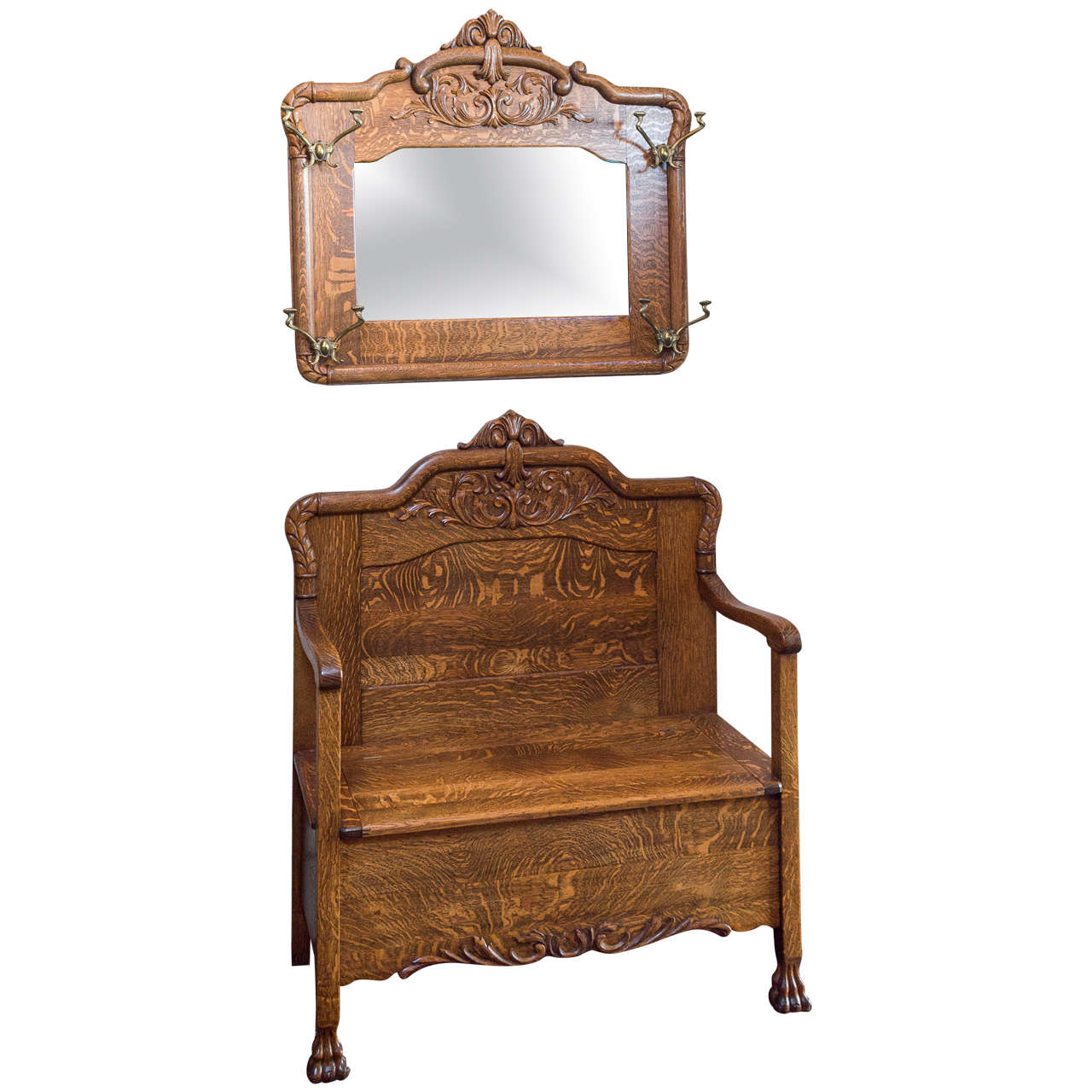 Super Quarter Sawn Oak Hall Bench With Matching Mirror With Hooks At 1stdibs