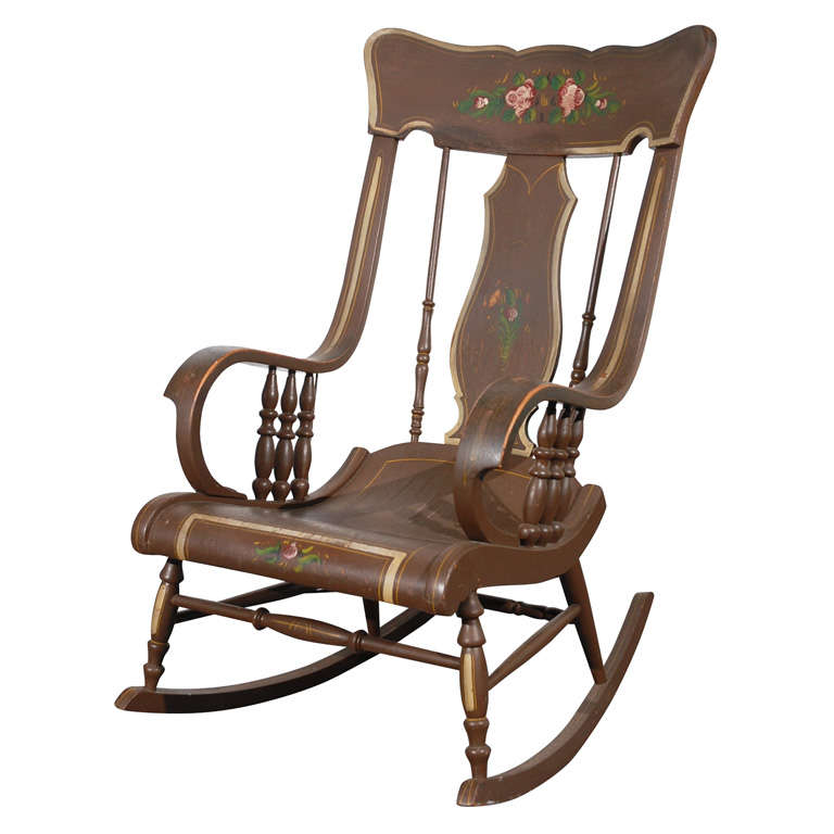 fantastic 19thc original painted boston rocking chair from pa at