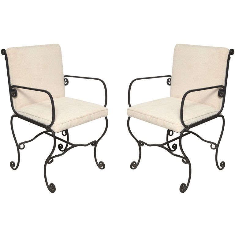 Pair of Iron Chairs For Sale