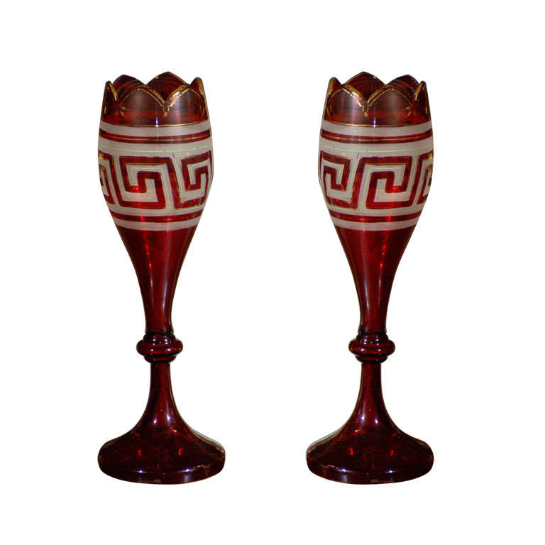 PR OF EARLY 20thC ETCHED GREEK KEY RED GLASS VASES GILT DETAIL at 1stdibs