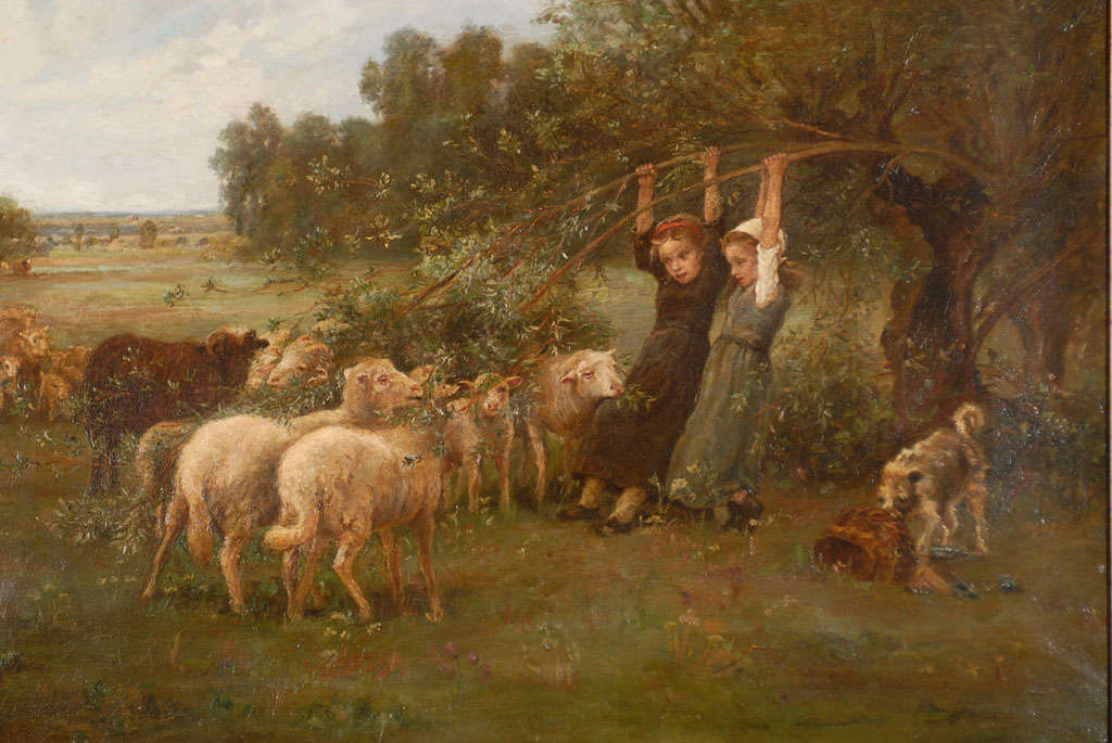 Painting Of Young Girls Feeding Sheep At 1stdibs