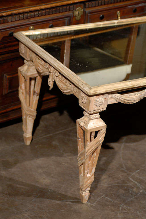 Neoclassical Italian Mirrored Top Ornate Bleached Wood Coffee Table with Swags, circa 1920 For Sale