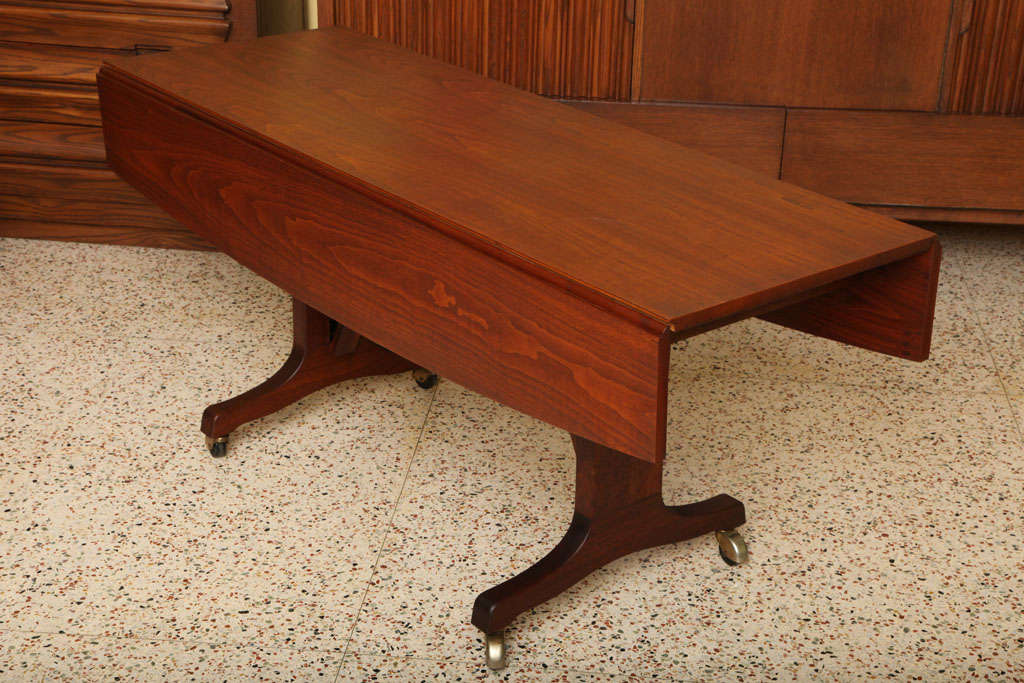 exceptional walnut convertible coffee dining table at 1stdibs. Black Bedroom Furniture Sets. Home Design Ideas