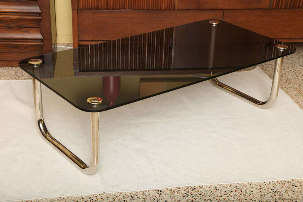Smart Long Glass And Nickel Sled Leg Coffee Table At 1stdibs