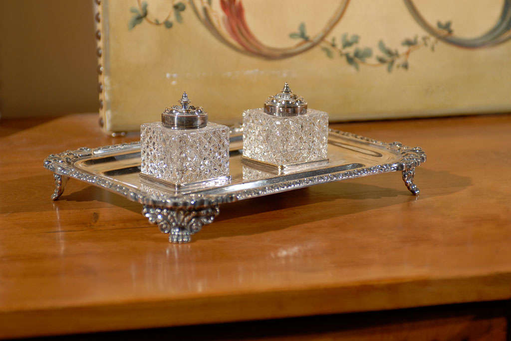 English silver ink stand