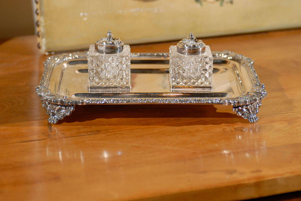 English Silver Ink Stand For Sale 5
