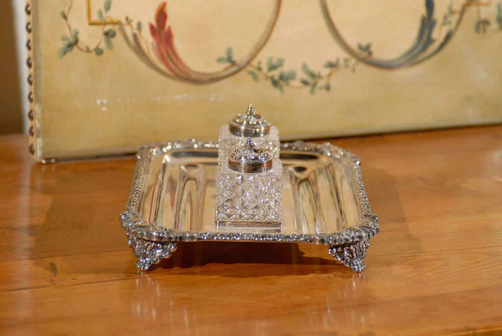 English Silver Ink Stand In Good Condition For Sale In Atlanta, GA