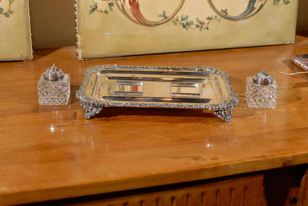 19th Century English Silver Ink Stand For Sale