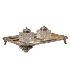 English Victorian Period 1890s Stamped Silver Inkstand with Crystal Inkwells