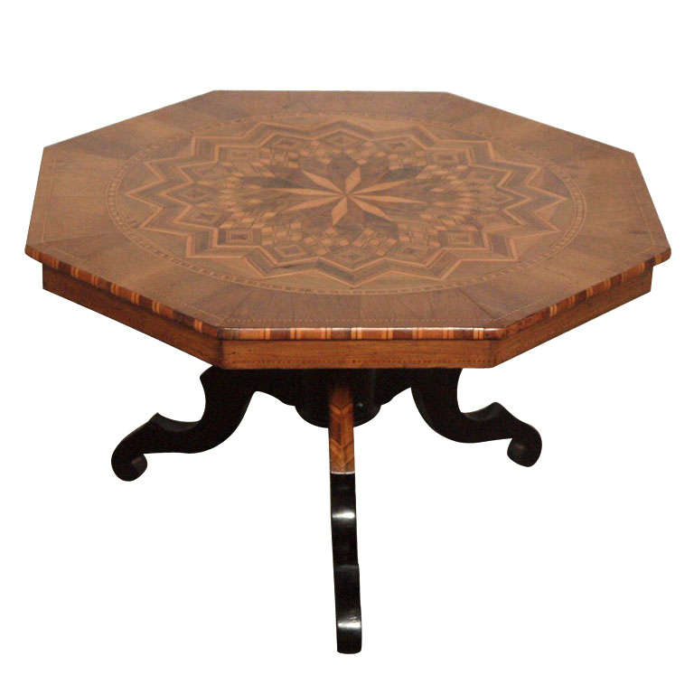 19th Century Neoclassical Italian Walnut Coffee Table With Inlaid Marquetry For Sale At 1stdibs
