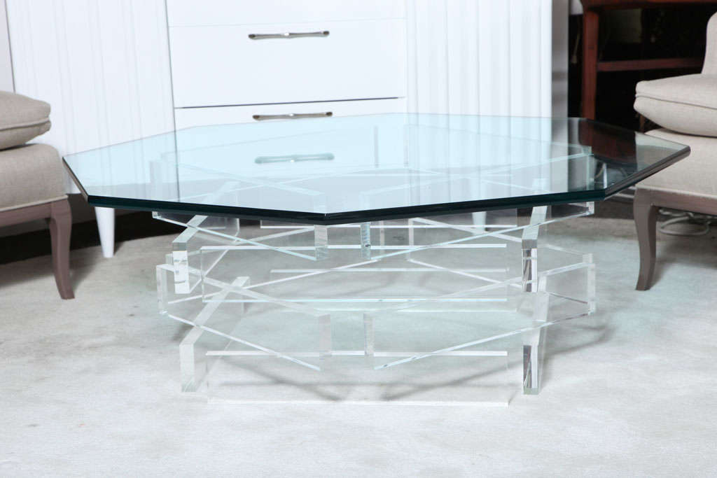 Beautiful 1970 39 S Octagonal Lucite And Glass Coffee Table For Sale At 1stdibs