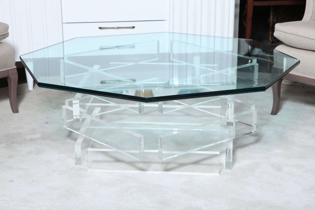 Beautiful 1970u0027s Octagonal Lucite And Glass Coffee Table 2