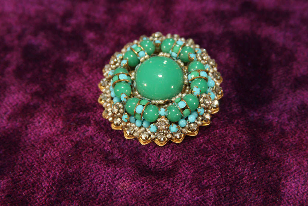 Glass green/blue brooch For Sale