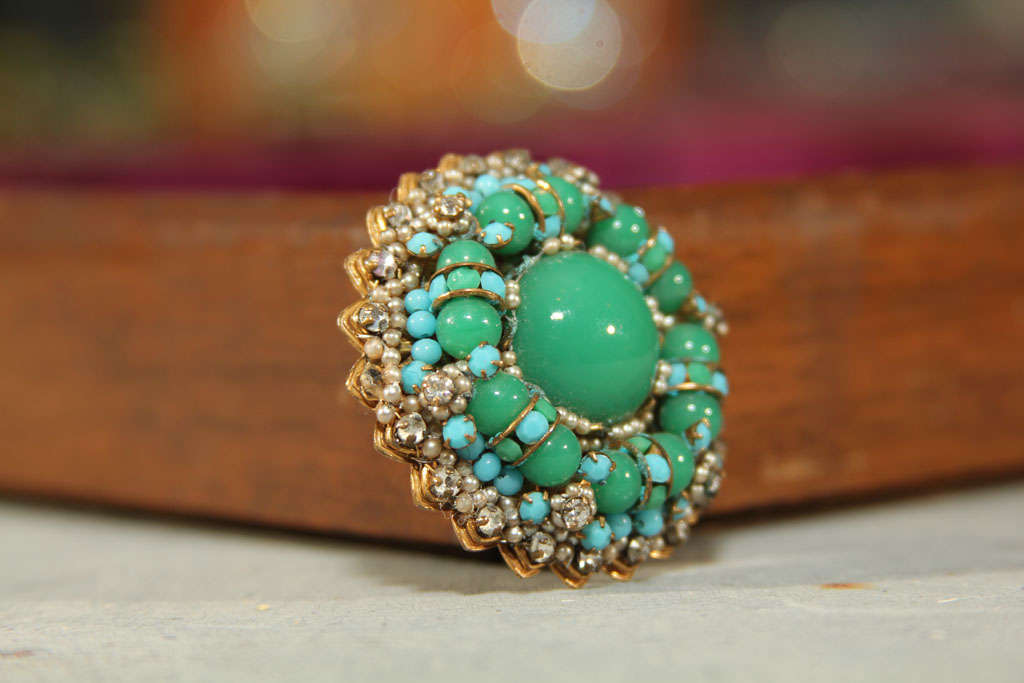 green/blue brooch For Sale 5