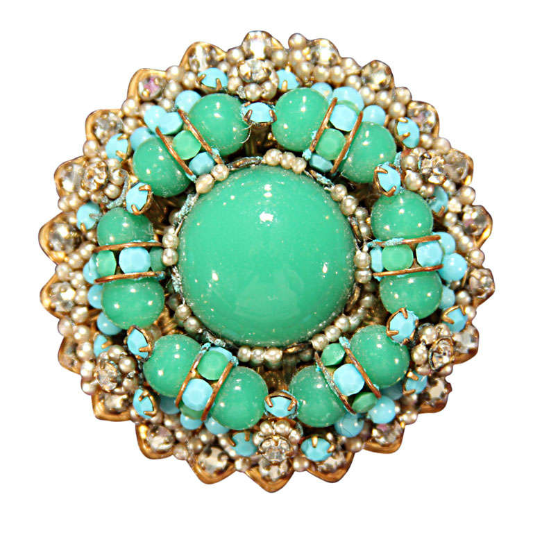 green/blue brooch For Sale