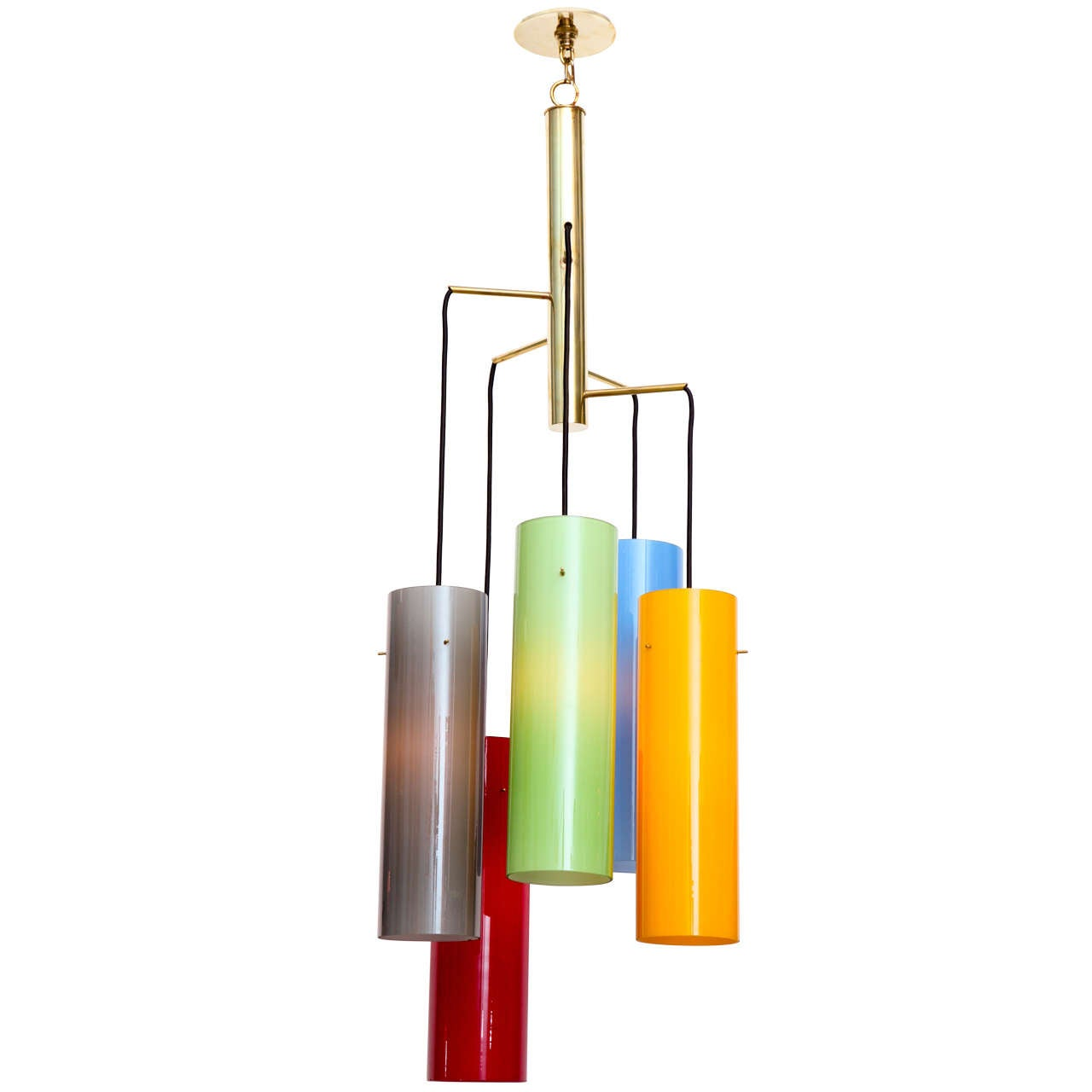 5 light multi color glass and brass hanging fixture at 1stdibs - Colored glass pendant lights ...